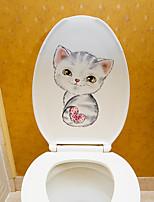 abordables -autocollants mignons de toilette de chat - autocollants muraux animaux animaux / formes salle de bain / chambre d'enfants