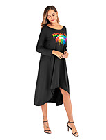 cheap -Women's Street Basic A Line Dress - Solid Colored Letter Cut Out Print Black White Orange S M L XL
