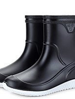 cheap -Women's Boots Flat Heel Round Toe PVC Mid-Calf Boots Winter Black / Blue