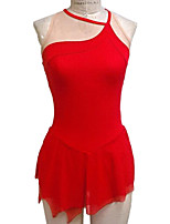cheap -Figure Skating Dress Women's Girls' Ice Skating Dress Red Spandex High Elasticity Training Competition Skating Wear Handmade Patchwork Sleeveless Ice Skating Figure Skating