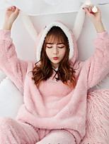 cheap -Adults' Kigurumi Pajamas Rabbit Bunny Onesie Pajamas Flannel Pink Cosplay For Men and Women Animal Sleepwear Cartoon Festival / Holiday Costumes / Leotard / Onesie