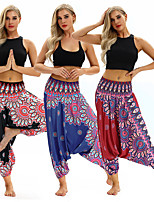cheap -Women's Yoga Pants Harem Baggy Print Black Red Dark Blue Light Blue Dance Fitness Gym Workout Bloomers Sport Activewear Lightweight Breathable Quick Dry Soft Stretchy Loose