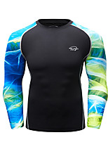 cheap -CODYLUNDIN Men's Patchwork Compression Shirt Running Shirt Running Base Layer Winter Round Neck Running Active Training Jogging Breathable Soft Sweat-wicking Sportswear Top Long Sleeve Activewear