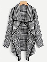 cheap -Women's Daily Fall & Winter Long Coat, Plaid Black & Gray Turndown Long Sleeve Polyester Black / Red / Camel