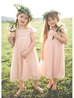 cheap -Kids Girls' Solid Colored Dress Blushing Pink