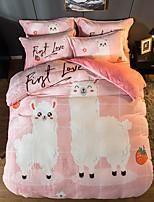 cheap -Sweet And Warm Cartoon Flannel Duvet Cover Set Queen Bedding Cover Set Boys Girls Duvet Comforter Cover Set Luxury Soft Queen Duvet Cover Set