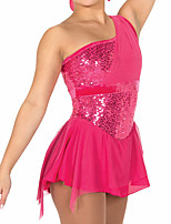 cheap -Figure Skating Dress Women's Girls' Ice Skating Dress Fuchsia Patchwork Spandex High Elasticity Training Competition Skating Wear Handmade Patchwork Crystal / Rhinestone Sleeveless Ice Skating Figure