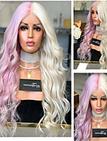 cheap -Synthetic Wig Curly Wavy Asymmetrical Wig Long White / Pink Synthetic Hair 27 inch Women's Best Quality White Pink