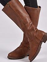 abordables -Femme Bottes Block Heel Bout rond Polyuréthane Bottes Mi-mollet Hiver Noir / Marron / Café