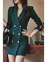 abordables -Femme Blazer, Couleur Pleine Revers en Pointe Polyester Noir / Vin / Vert