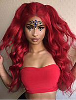 cheap -Synthetic Lace Front Wig Wavy Body Wave Middle Part Lace Front Wig Long Red Synthetic Hair 18-26 inch Women's Cosplay Soft Party Red