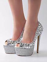 cheap -Women's Wedding Shoes Stiletto Heel Peep Toe Rhinestone / Crystal / Sparkling Glitter PU Vintage / Minimalism Spring &  Fall / Spring & Summer Silver / Party & Evening