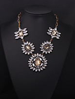 cheap -Women's Crystal Pendant Necklace Fancy Flower Statement Colorful Earrings Jewelry Black / Champagne For Wedding Party 1 set