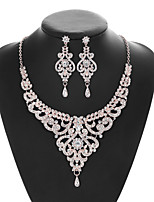 cheap -Women's Crystal Bridal Jewelry Sets Geometrical Flower Vintage Elegant Earrings Jewelry White For Wedding Party 1 set