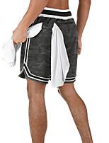 cheap -Men's Running Shorts Stripe-Trim Mesh Split Sports Shorts Running Fitness Jogging Breathable Quick Dry Soft Camouflage Black Gray / Stretchy
