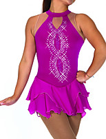 cheap -Figure Skating Dress Women's Girls' Ice Skating Dress Purple Green Spandex High Elasticity Training Competition Skating Wear Handmade Patchwork Crystal / Rhinestone Sleeveless Ice Skating Figure