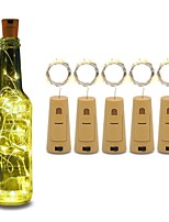 cheap -5pcs String led Wine Bottle with Cork 20 LED Bottle Lights Battery Cork for Party Wedding Christmas Halloween Bar Decor Warm White
