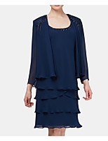 cheap -3/4 Length Sleeve Chiffon Wedding Women's Wrap With Beading / Ruching / Solid Coats / Jackets