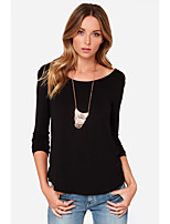 cheap -Women's Daily Going out Street chic T-shirt - Solid Colored Black