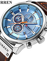 cheap -CURREN Men's Dress Watch Quartz Formal Style Stylish PU Leather 30 m Water Resistant / Waterproof Calendar / date / day Three Time Zones Analog Luxury Fashion - Black Rose Gold White / Brown