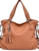 cheap -Women's Zipper PU Top Handle Bag Solid Color Black / Brown / Blue