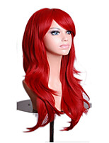 cheap -Synthetic Wig Curly Asymmetrical Wig Long Red Synthetic Hair 27 inch Women's Best Quality Burgundy