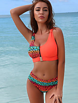 cheap -Women's White Fuchsia Orange Tankini Swimwear - Leopard S M L White
