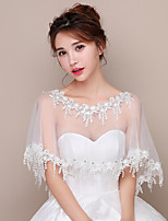 cheap -Short Sleeve Polyester / Lace / Tulle Wedding Women's Wrap With Tassel / Split Joint / Crystals / Rhinestones Capelets