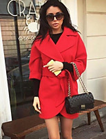 cheap -Women's Daily Long Coat, Solid Colored Shirt Collar Long Sleeve Polyester Fuchsia / Blue