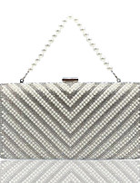 cheap -Women's Crystals / Pearls PU Evening Bag Solid Color Silver