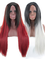 cheap -Synthetic Wig Straight kinky Straight Asymmetrical Wig Long Ombre Grey Ombre Red Synthetic Hair 27 inch Women's Best Quality Black Ombre