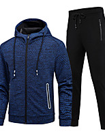 cheap -Men's 2-Piece Full Zip Tracksuit Sweatsuit 2pcs Winter Front Zipper Hooded Running Fitness Jogging Sportswear Thermal / Warm Breathable Soft Athletic Clothing Set Long Sleeve Activewear Micro-elastic