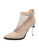 cheap -Women's Boots Stiletto Heel Pointed Toe Microfiber Booties / Ankle Boots Classic / Vintage Spring & Summer Black / Almond / Party & Evening