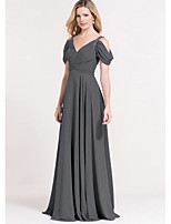 cheap -A-Line Plunging Neck Sweep / Brush Train Chiffon Elegant Prom / Formal Evening Dress 2020 with Crystals / Ruched / Pleats
