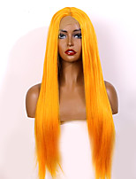 cheap -Synthetic Lace Front Wig Natural Straight Middle Part Glueless Lace Front Wig Long Medium Length Very Long Orange Synthetic Hair 18-24 inch Women's Fashionable Design Party Women Yellow