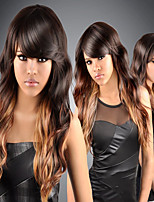 abordables -Perruque Synthétique Bouclé Coupe Asymétrique Perruque Long Ombre Brown Cheveux Synthétiques 27 pouce Femme Meilleure qualité Marron