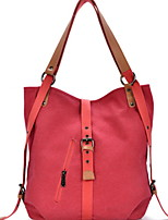 cheap -Women's Zipper Canvas Top Handle Bag Solid Color Brown / Blue / Red