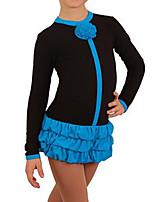 abordables -Robe de Patinage Artistique Femme Fille Patinage Robes Bleu Rose Spandex Haute élasticité Entraînement Compétition Tenue de Patinage Fait à la main Mosaïque Manches Longues Patinage sur glace