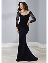 cheap -Sheath / Column Scoop Neck Sweep / Brush Train Velvet Elegant Engagement / Formal Evening Dress 2020 with Beading