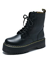 cheap -Women's Boots Creepers Round Toe PU Mid-Calf Boots Fall Black / White / Red