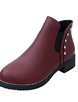 cheap -Women's Boots Low Heel Round Toe PU Booties / Ankle Boots Fall & Winter Black / Brown / Wine