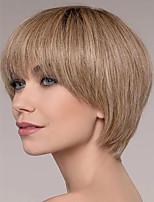 abordables -Perruque Synthétique Droit crépu Coupe Asymétrique Perruque Court Or clair Cheveux Synthétiques 4 pouce Femme Meilleure qualité Blond