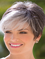 abordables -Perruque Synthétique Droit crépu Coupe Asymétrique Perruque Court Gris foncé Cheveux Synthétiques 6 pouce Femme Meilleure qualité Gris