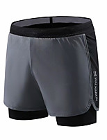 cheap -Men's Women's Running Shorts Split 2 in 1 Sports Shorts Running Fitness Jogging Breathable Quick Dry Soft Color Block Black Gray / Stretchy