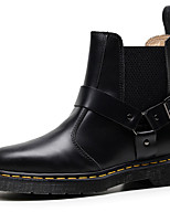 cheap -Women's Boots Low Heel Round Toe Cowhide Booties / Ankle Boots Sporty / Classic Winter / Fall & Winter Black