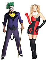 cheap -Joker Clown Dress Cosplay Costume Adults' Men's Cosplay Halloween Halloween Festival / Holiday Polyester Purple / Red Men's Women's Carnival Costumes