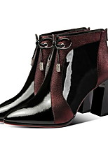 cheap -Women's Boots Chunky Heel Pointed Toe PU Booties / Ankle Boots Fall & Winter Red / Blue