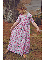 cheap -Kids Girls' Floral Dress Fuchsia