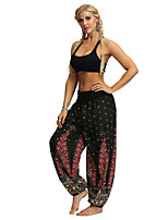 cheap -Women's Yoga Pants Harem Smocked Waist Print Black / Red Light Brown White Black / White Dance Fitness Gym Workout Bloomers Sport Activewear Lightweight Breathable Quick Dry Soft Stretchy Loose
