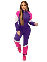 cheap -Women's 2-Piece Patchwork Tracksuit Sweatsuit 2pcs Pullover Running Fitness Jogging Sportswear Windproof Breathable Soft Athletic Clothing Set Long Sleeve Activewear Micro-elastic Regular Fit